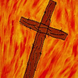 "George Mullen, Crucifixion, 1997, 28"" x 22"", barbwire and oil on canvas. Copyright © 1997 George Mullen. All Rights Reserved."