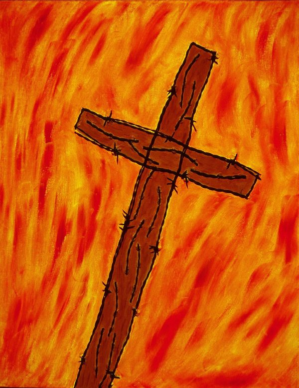 """George Mullen, Crucifixion, 1997, 28"""" x 22"""", barbwire and oil on canvas. Copyright © 1997 George Mullen. All Rights Reserved."""