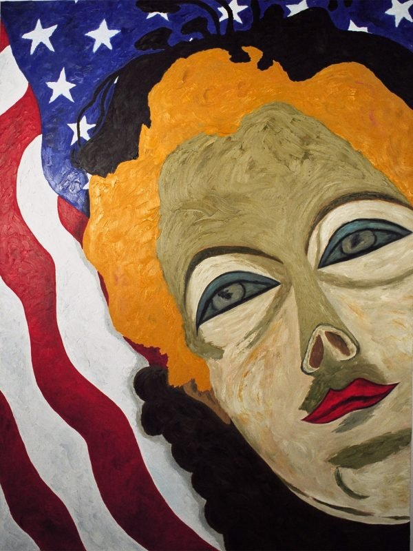 "George Mullen, Sept 11 Art / 911 Art: American Beauty, 2001, 48"" x 36"", oil on canvas. Copyright © 2001 George Mullen. All Rights Reserved."
