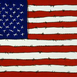 "George Mullen, Revolution Art: Freedom and Tyranny, 1997, 24"" x 36"", barbwire and oil on canvas. Copyright © 1997 George Mullen. All Rights Reserved. Private collection."