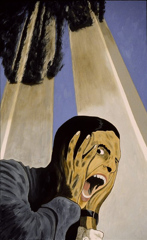 """George Mullen, Sept 11 Art / 911 Art: The Endless American Scream, 2002, 48"""" x 30"""", oil on canvas. Copyright © 2002 George Mullen. All Rights Reserved. """"Nothing left to paint, nothing left to say...September 11 is an irreversible scar seared upon our collective soul."""""""