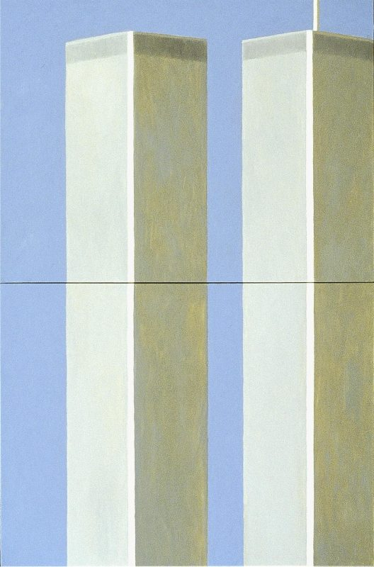 """George Mullen, Sept 11 Art / 911 Art: """"Beautiful Day!"""" (1 of 5), 2002, 18"""" x 24"""" each, oil on canvas. Copyright © 2002 George Mullen. All Rights Reserved. """"Nothing left to paint, nothing left to say...September 11 is an irreversible scar seared upon our collective soul."""""""
